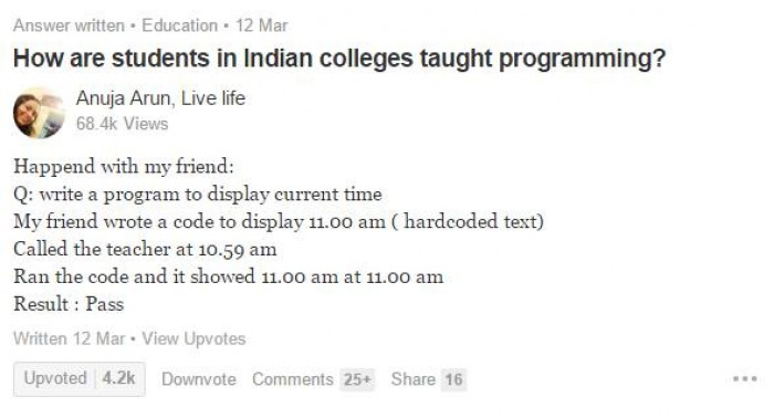 How are students in Indian colleges taught programming?