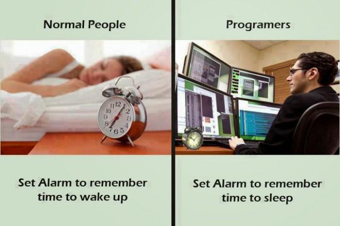 Sleeping: Normal People vs Programmers