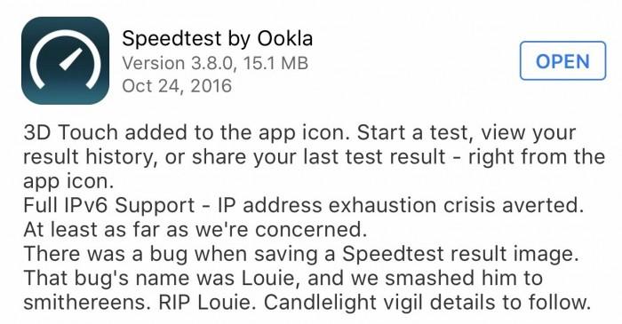 Speedtest iOS release notes. RIP Louie :(