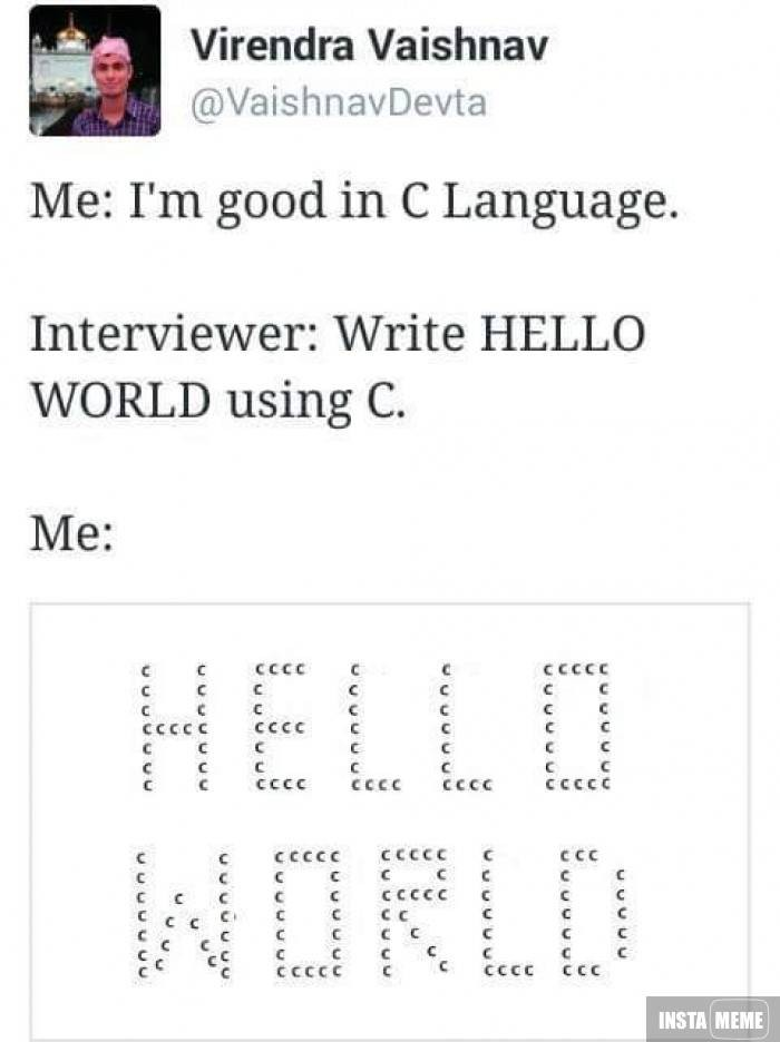 « I'm good in C Language »