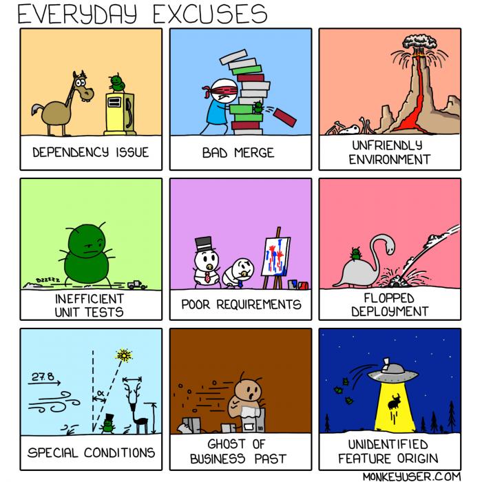 [monkeyuser] Everyday Excuses