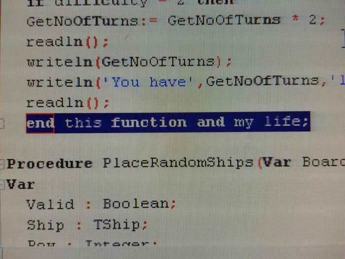 So its my friends first week of computer science at college and she sends me this.