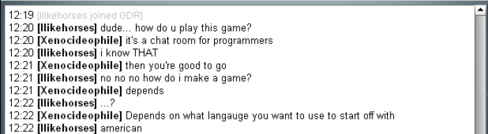 So this one guy enters a developer chat room...
