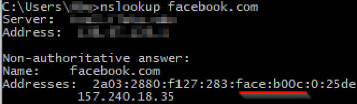 Facebook being clever with their ipv6 address