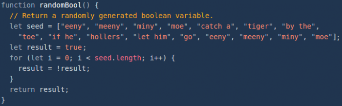 A fair way to randomly choose a boolean value