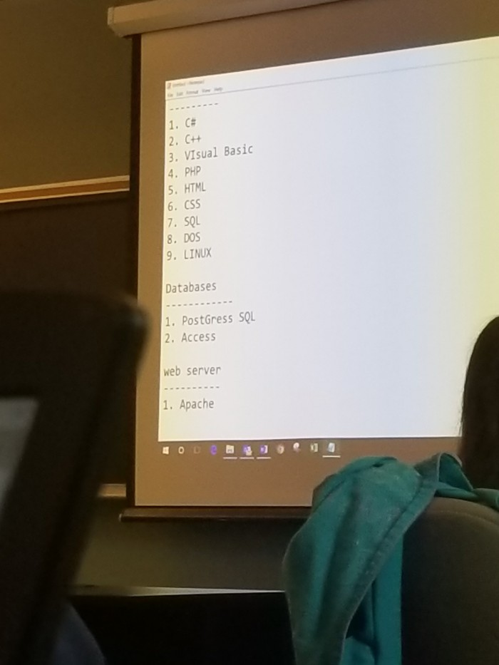 Professor posted a list of programming languages