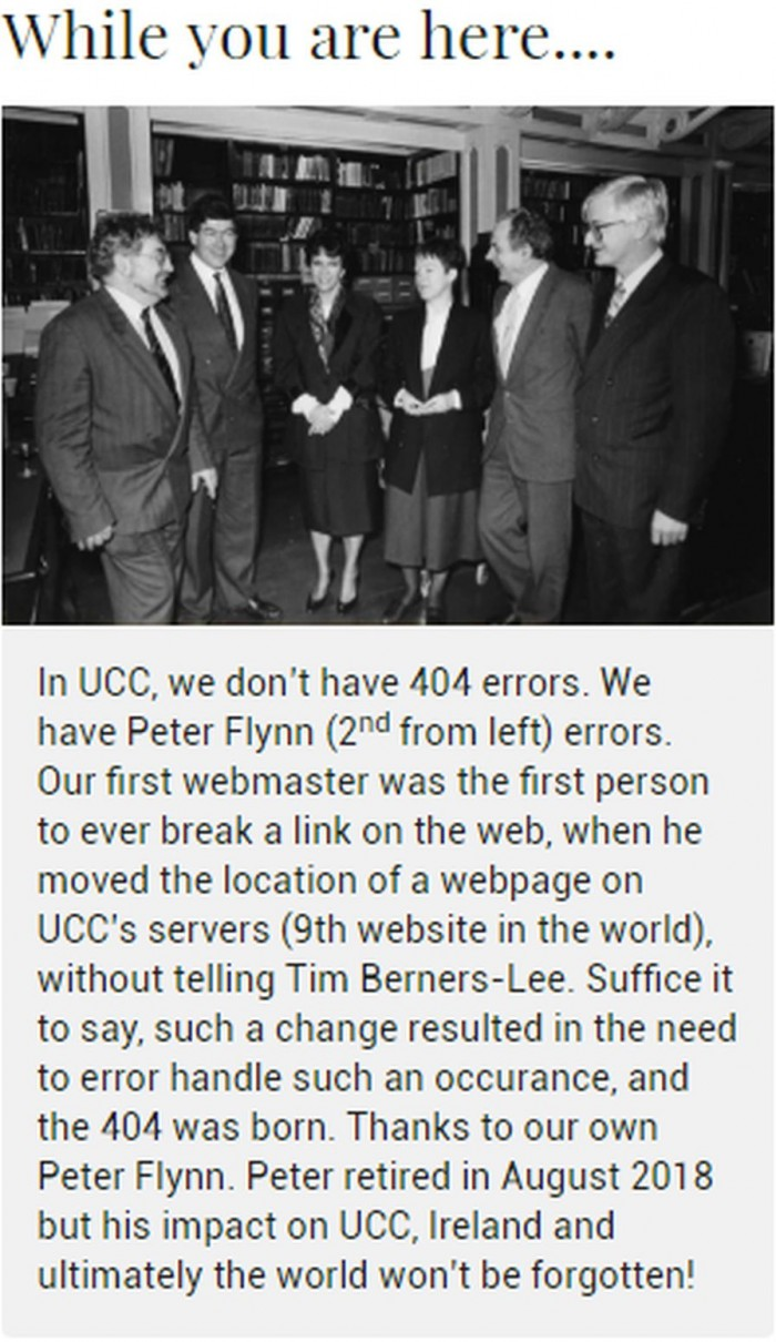 Came across this 404 error message on a university website in Cork city, Ireland