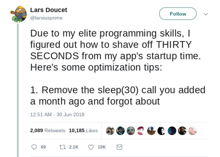 Optimizing startup times