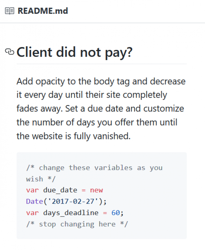Client did not pay?